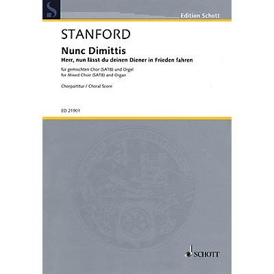 Schott Nunc Dimittis, Op. 115 - Herr, nun lässt du deinen Diener in Frieden fahren SATB by Stanford