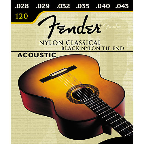 Fender Nylon Classical 120 Black Silver Tie Acoustic Guitar Strings