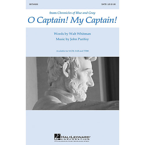 Hal Leonard O Captain! My Captain! SATB composed by John Purifoy