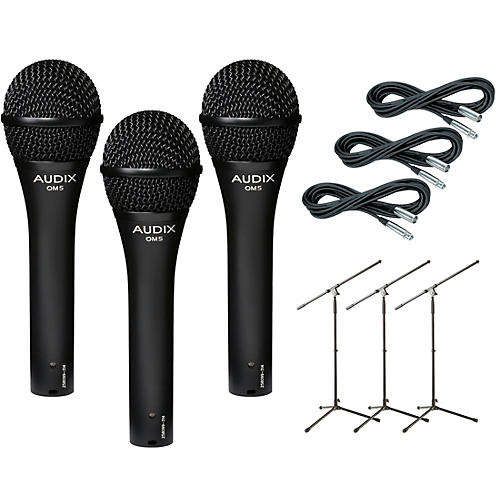 Audix OM-5 Mic with Cable and Stand 3 Pack
