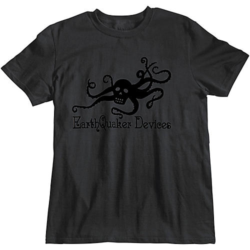 Earthquaker Devices Octoskull T-Shirt - Black on Black Small