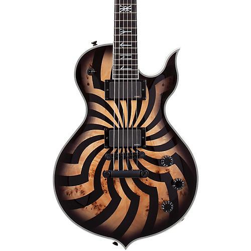 Wylde Audio Odin Grail 6-String Electric Guitar Orange With Black Buzz Saw Graphic Charcoal Burst