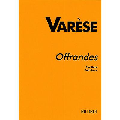 Ricordi Offrandes (Study Score) Study Score Series Composed by Edgard Varèse