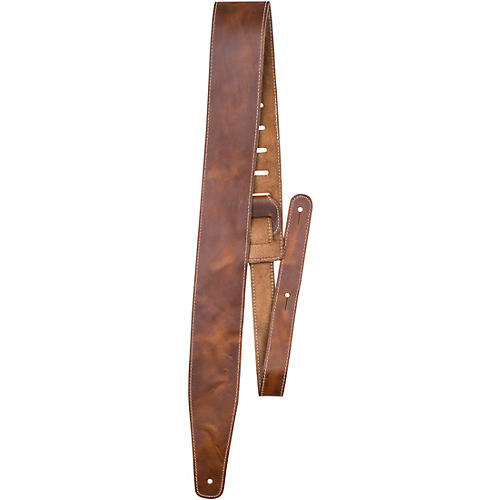 Perri's Oil Leather Guitar Strap With Contrast Stitching Tan 2.5 in.