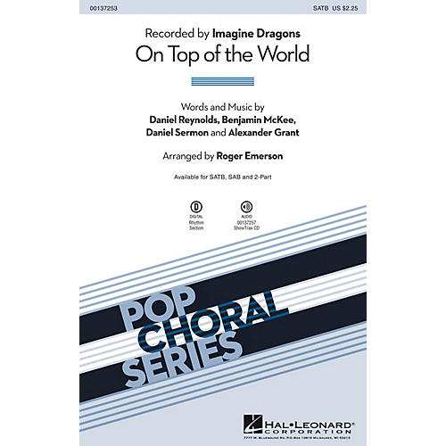 Hal Leonard On Top of the World SAB by Imagine Dragons Arranged by Roger Emerson