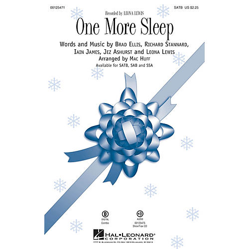 Hal Leonard One More Sleep SSA by Leona Lewis Arranged by Mac Huff