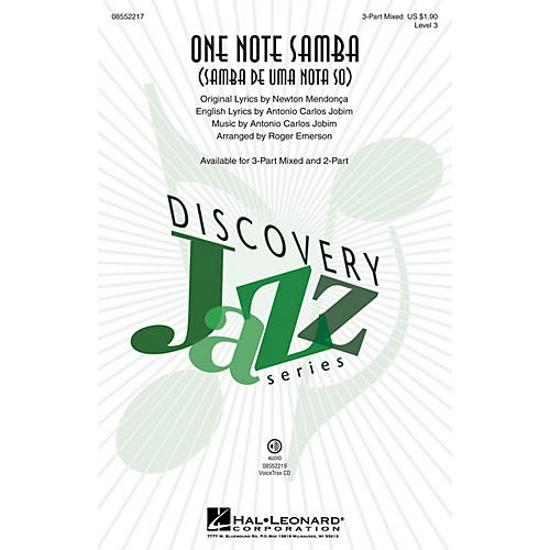Hal Leonard One Note Samba 2-Part by Antonio Carlos Jobim Arranged by Roger Emerson