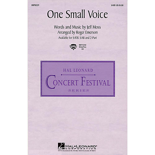 Hal Leonard One Small Voice (from Sesame Street) 2-Part Arranged by Roger Emerson