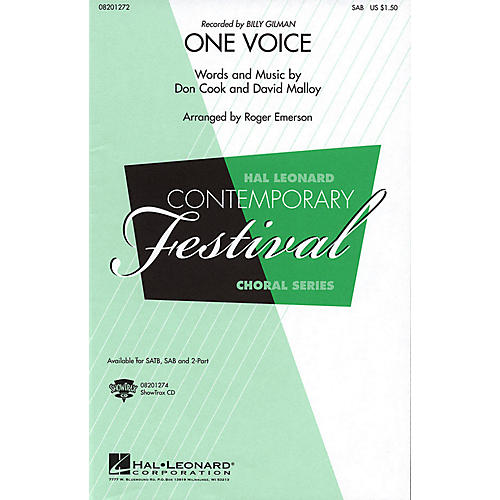 Hal Leonard One Voice SAB by Billy Gilman arranged by Roger Emerson