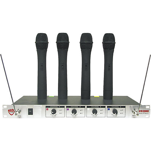 Open Box Nady 401X Quad WHT Handheld VHF Wireless Microphone System
