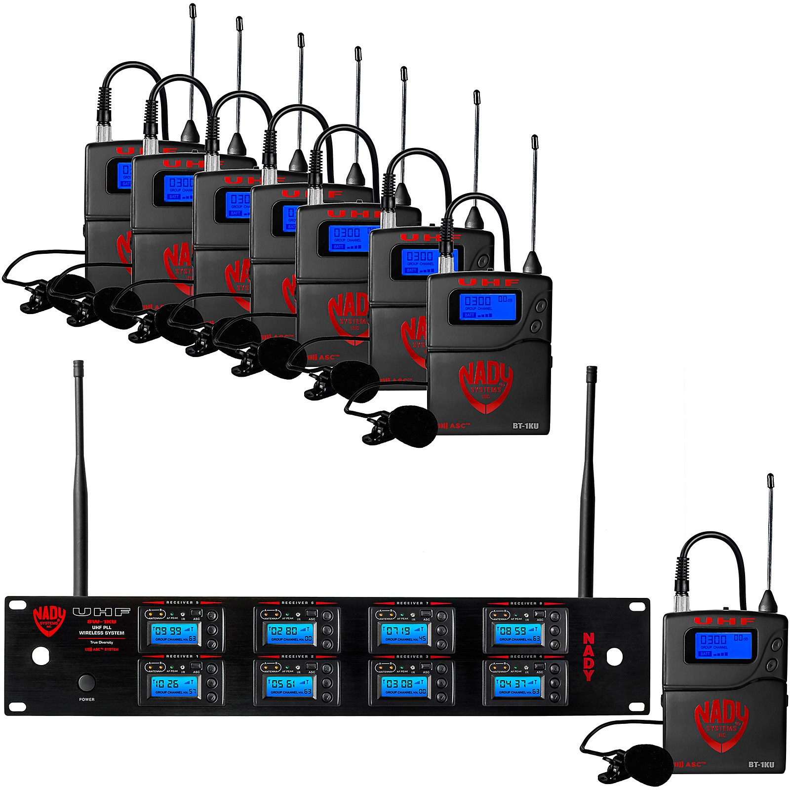 Open Box Nady 8W-1KU - Eight 1000-Channel Lavalier Wireless System
