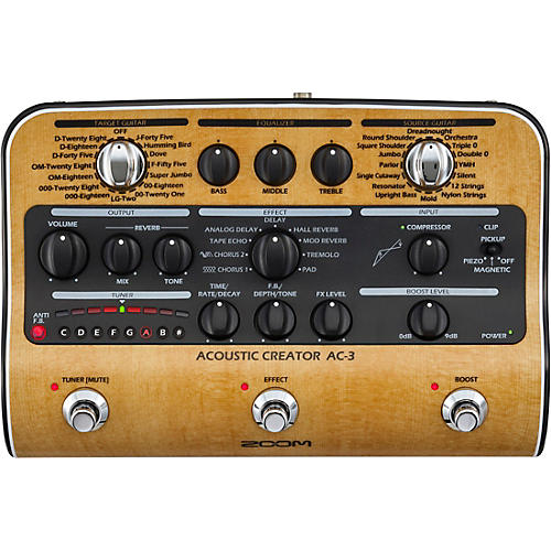 Open Box Zoom AC-3 Acoustic Creator Acoustic Multi-Effects Pedal