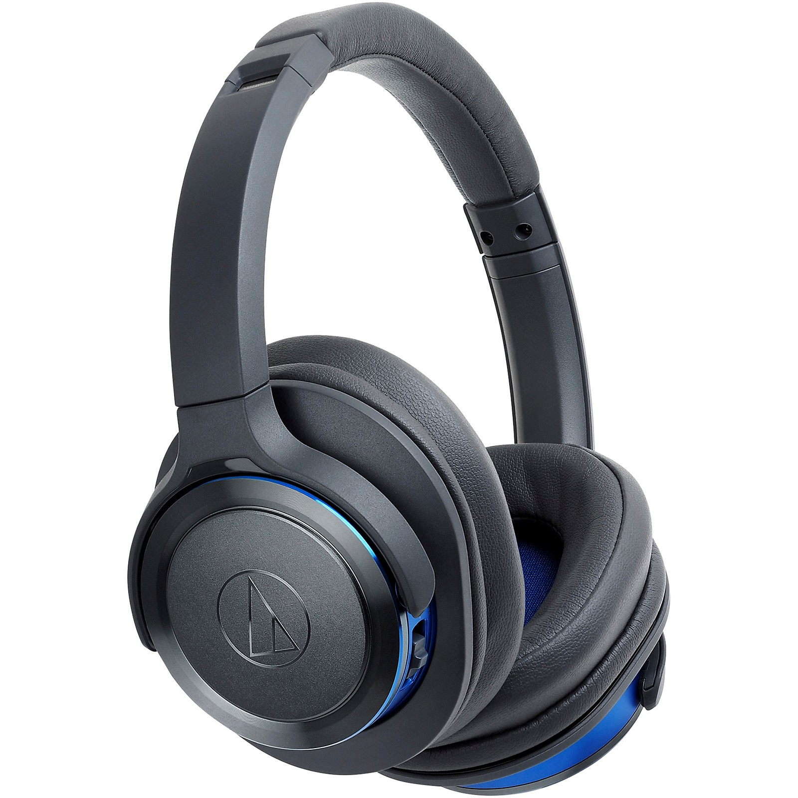 Open Box Audio-Technica ATH-WS660BTGBL Solid Bass Over-Ear Bluetooth Headphone in Blue/Gray