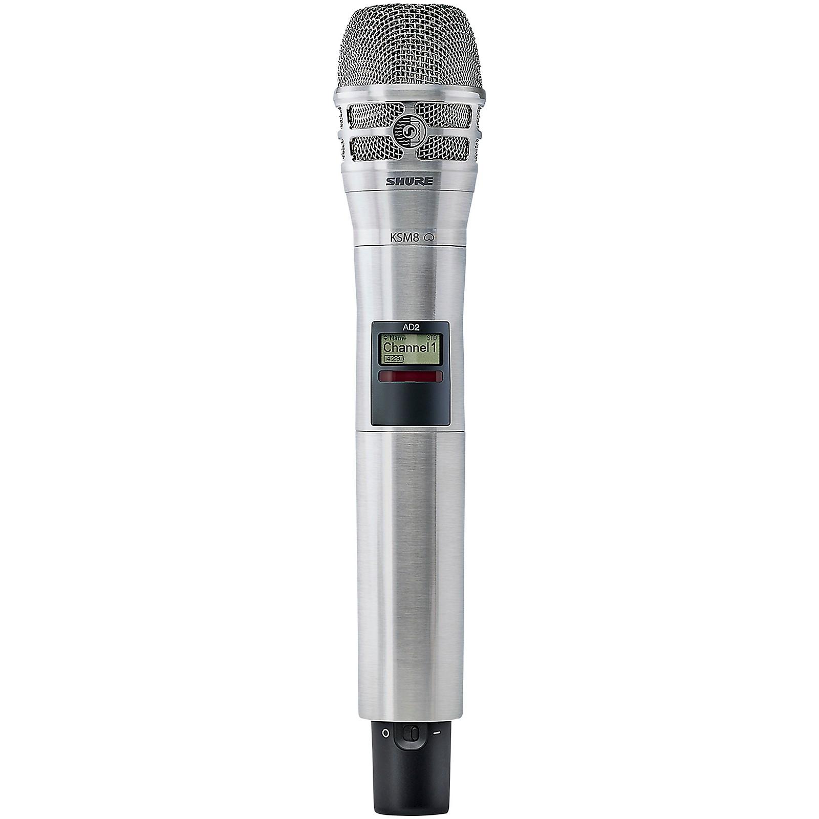 Open Box Shure Axient Digital AD2/K8N Handheld Wireless Transmitter with Nickel KSM8 Microphone