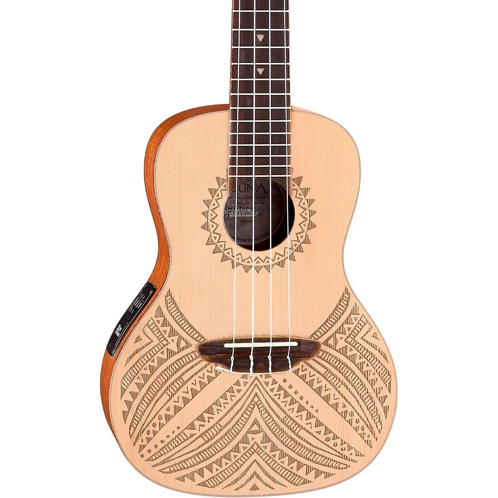 Open Box Luna Guitars Concert Solid Spruce Top Tapa Design Acoustic Electric Ukulele