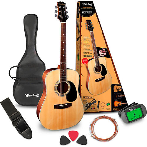 Open Box Mitchell D120PK Acoustic Guitar Value Package
