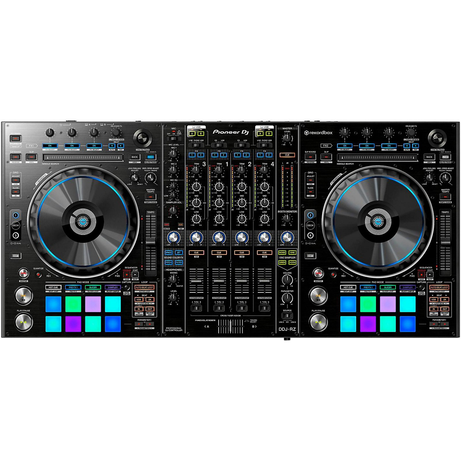 Open Box Pioneer DDJ-RZ 4-Channel Rekordbox DJ Controller with Performance Pads