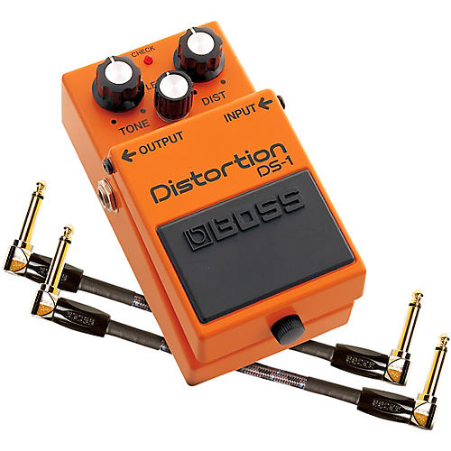 Open Box Boss DS-1 Distortion Effects Pedal and Two 6-Inch Jumper Cable Promo Pack
