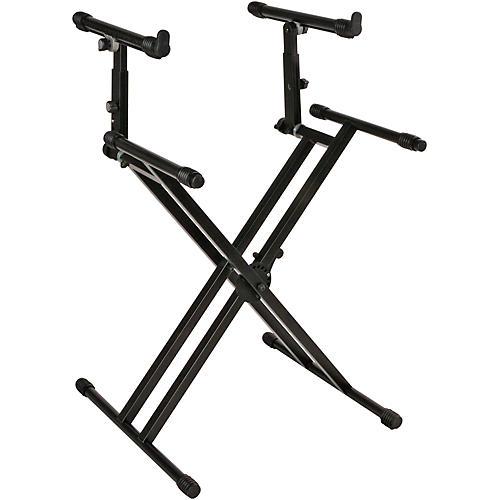Open Box Quik-Lok Double-Tier Double-Braced Keyboard Stand