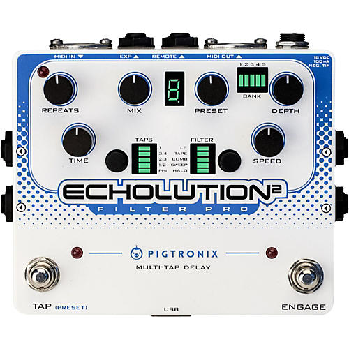Open Box Pigtronix Echolution 2 Filter Pro Delay Guitar Pedal