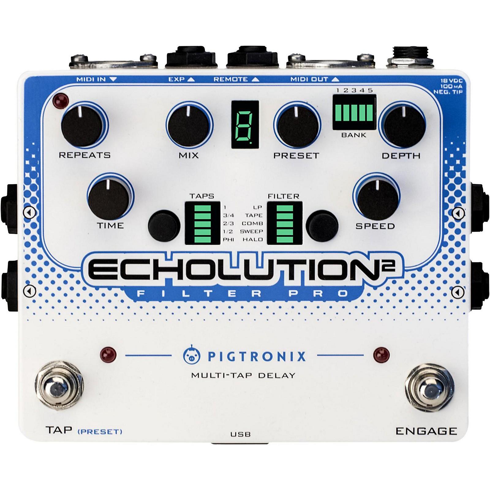 Open Box Pigtronix Echolution 2 Filter Pro Delay Guitar Pedal