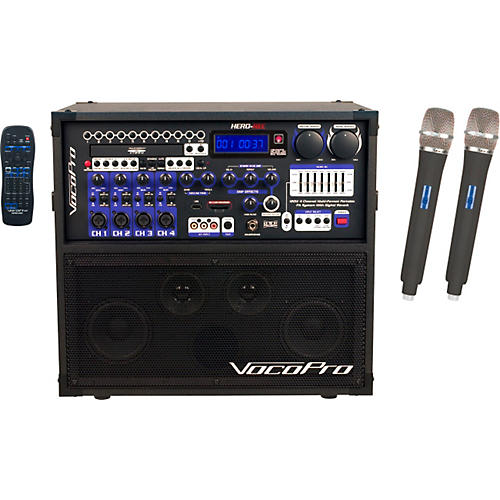 Open Box VocoPro HERO-REC UHF Multi-Format Portable PA Karaoke System with Digital Recorder & UHF Wireless System