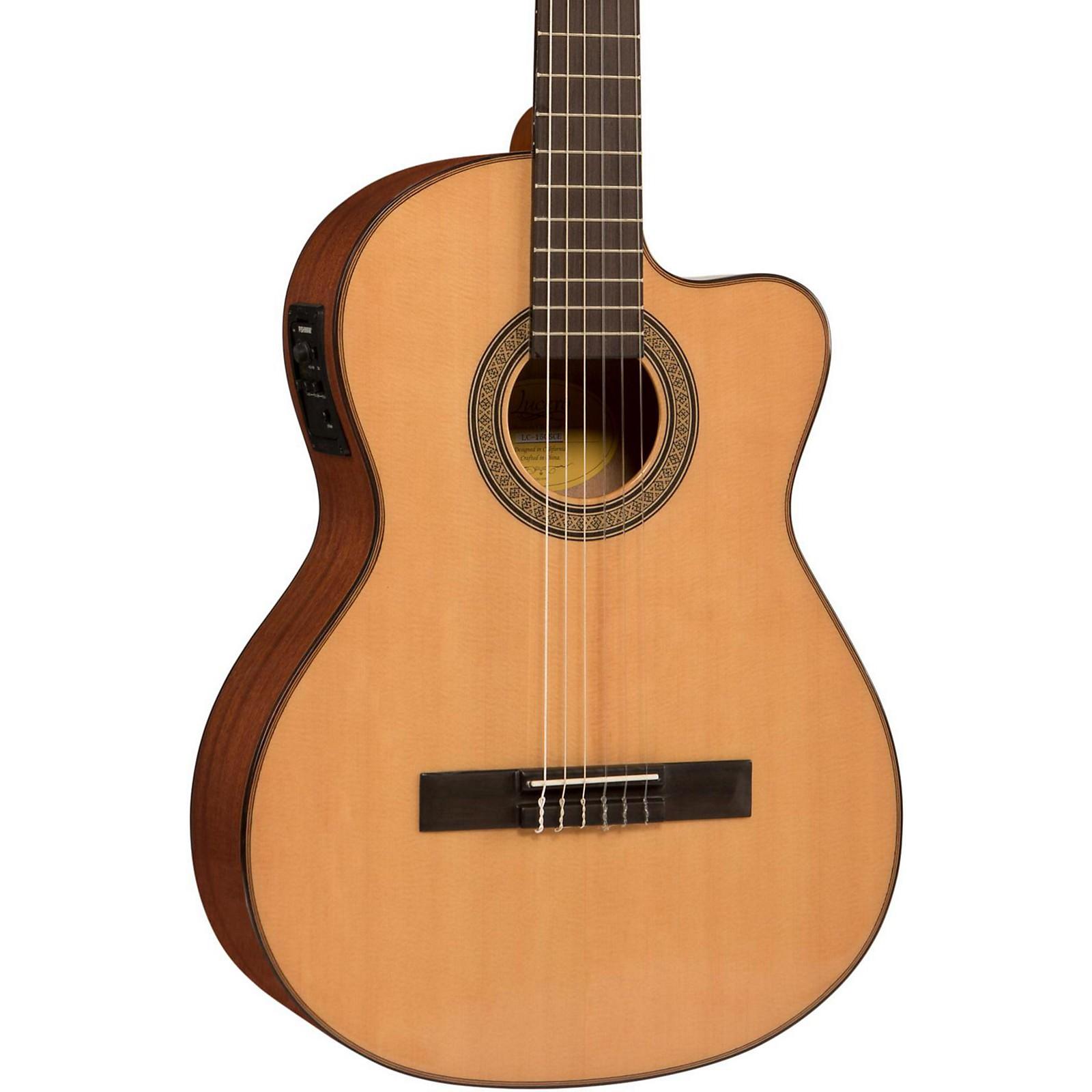 Open Box Lucero LC150Sce Spruce/Sapele Cutaway Acoustic-Electric Classical Guitar