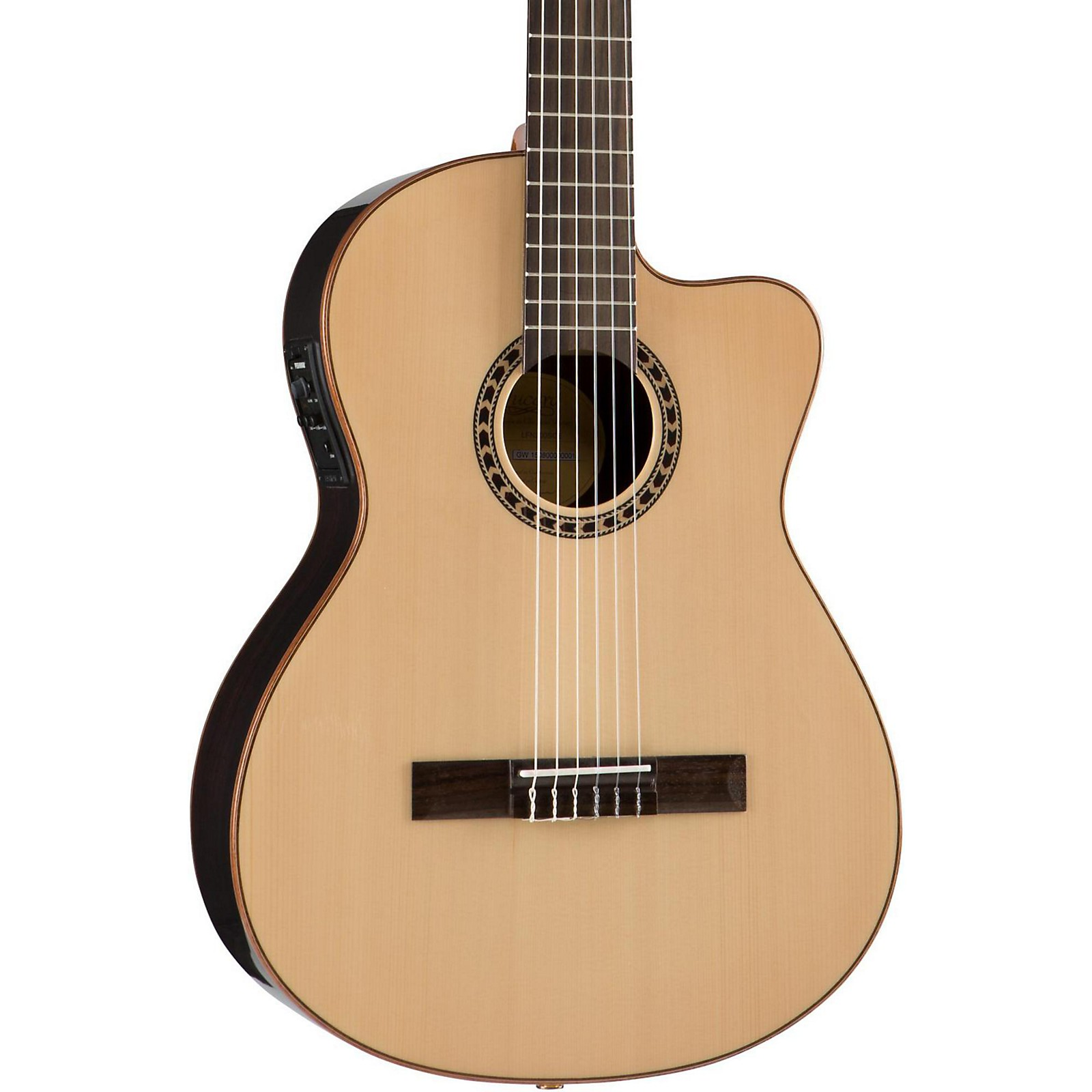 Open Box Lucero LFN200Sce Spruce/Rosewood Thinline Acoustic-Electric Classical Guitar