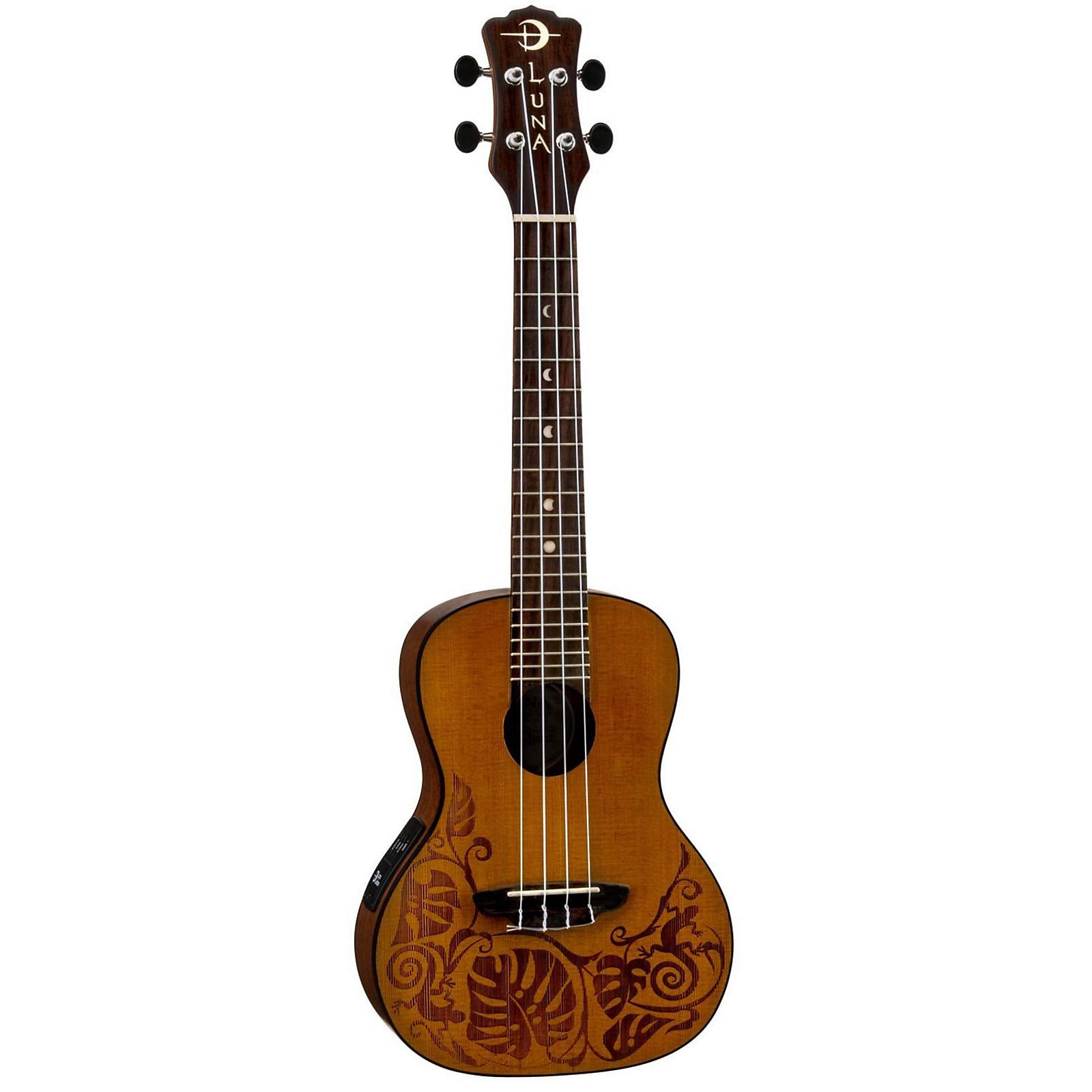 Open Box Luna Guitars MO CDR Concert Acoustic-Electric Ukulele