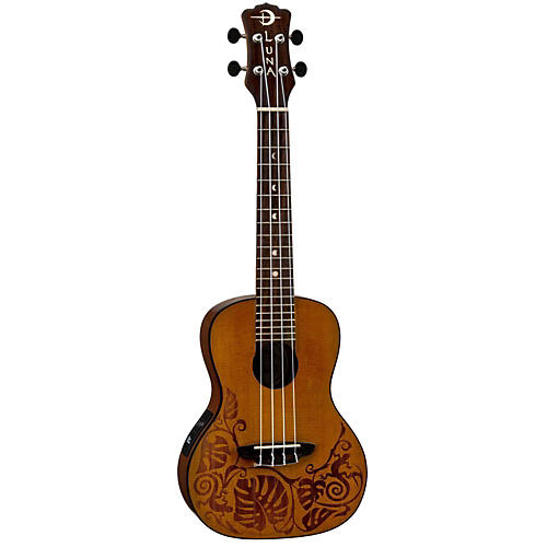 Open Box Luna Guitars MO CDR Concert Acoustic-Electric Ukulele