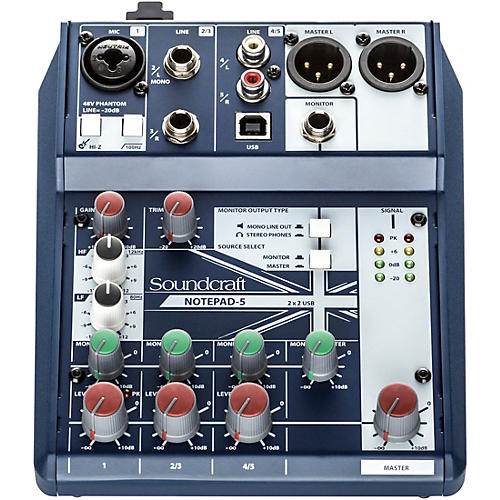 Open Box Soundcraft Notepad-5  Small Format Analog Mixing Console w/ USB I/O