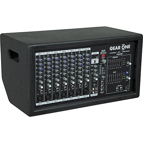Open Box Gear One PA2400 8 Ch Powered Mixer 2 x 400 wt