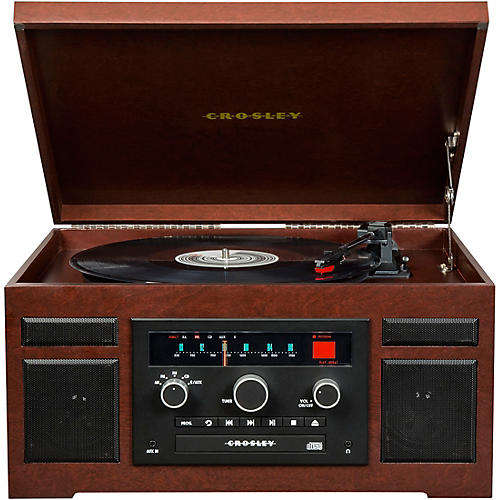 Open Box Crosley Patriarch Entertainment Center with Bluetooth and PVC veneer