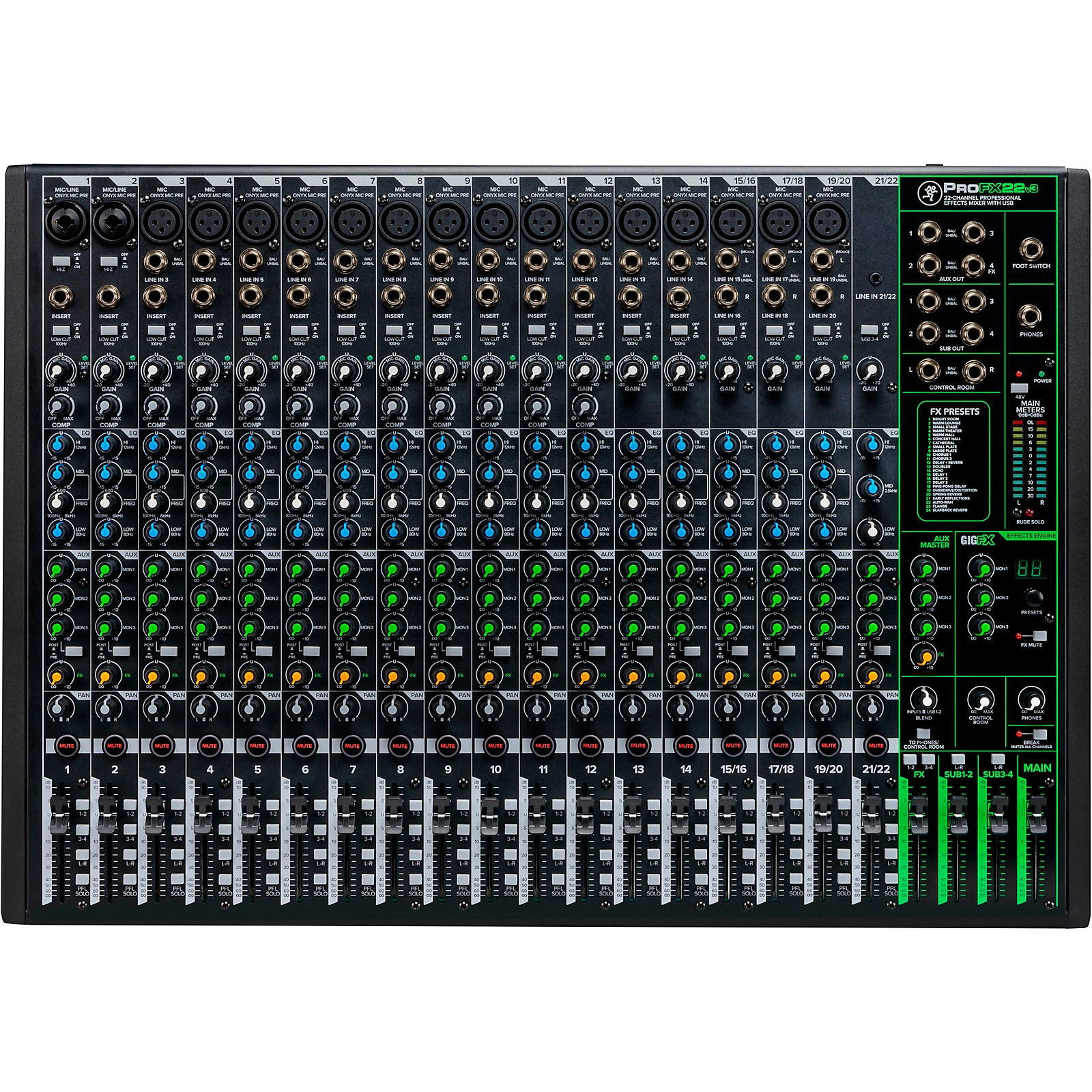 Open Box Mackie ProFX22v3 22-Channel 4-Bus Professional Effects Mixer with USB