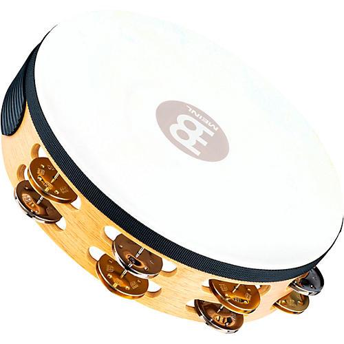 Open Box Meinl Recording-Combo Goat-Skin Wood Tambourine Two Rows Dual Alloy Jingles