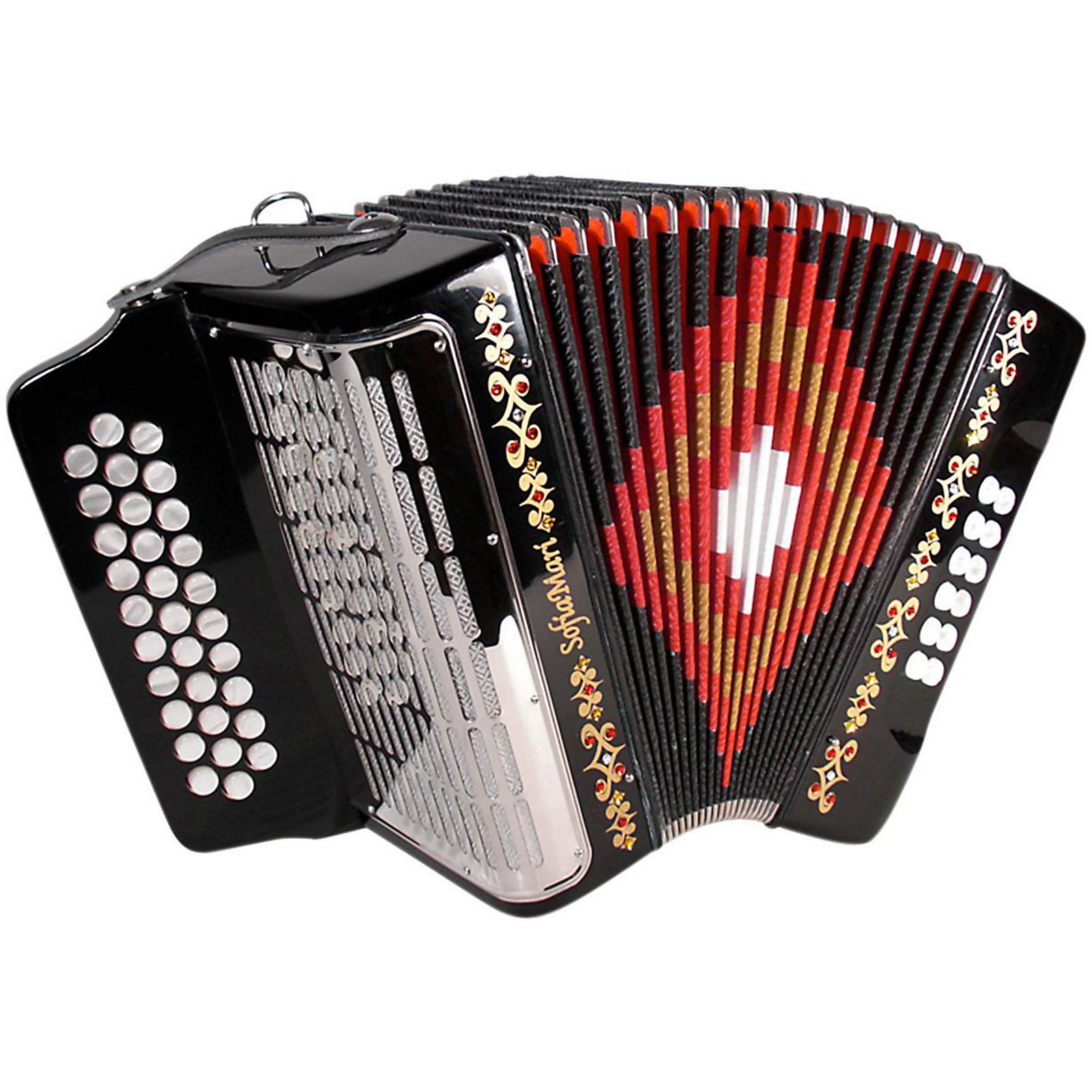 Open Box SofiaMari SM3112 Black GCF 31 Button Accordion
