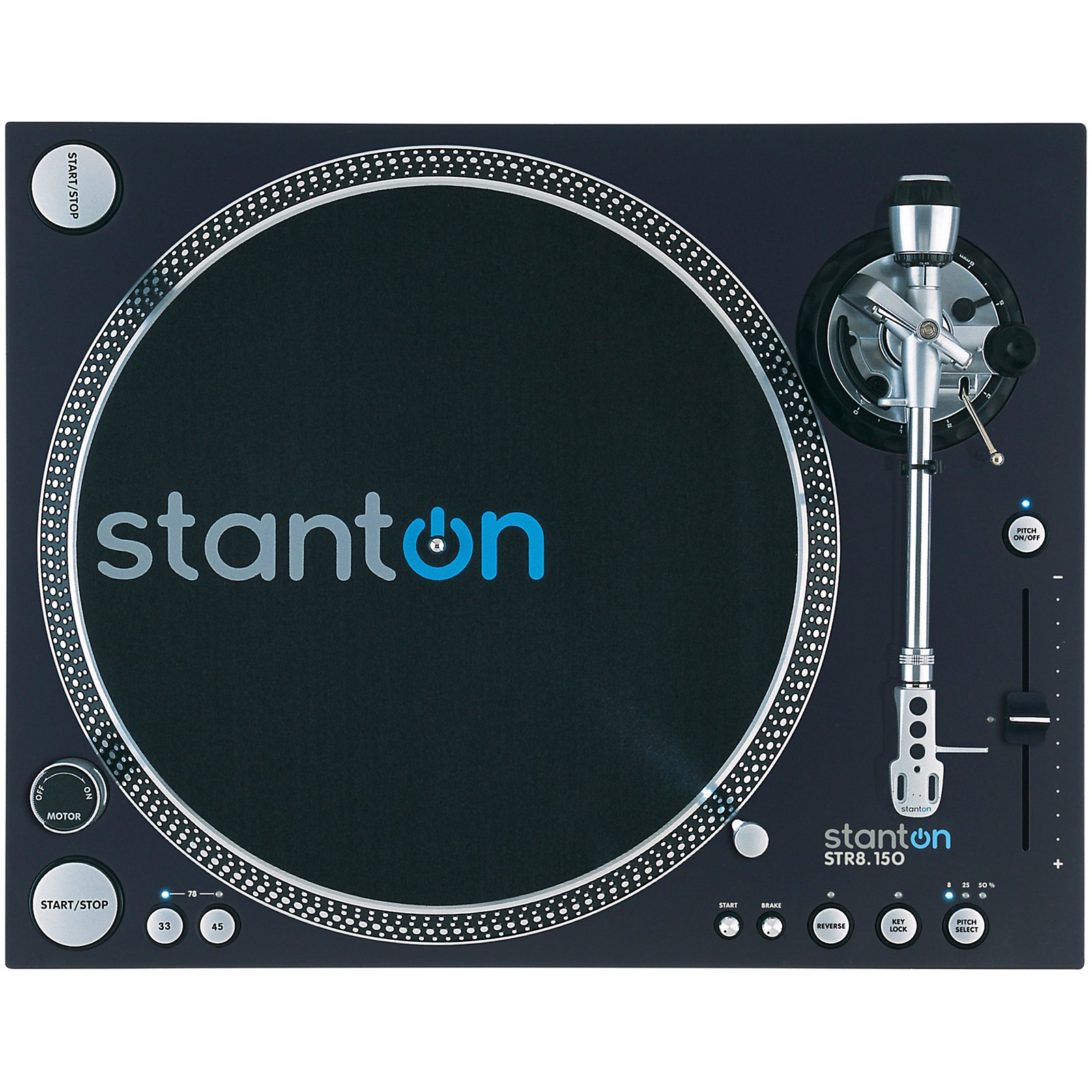 Open Box Stanton STR8.150 M2 Direct Drive Professional DJ Turntable with Straight Tone Arm