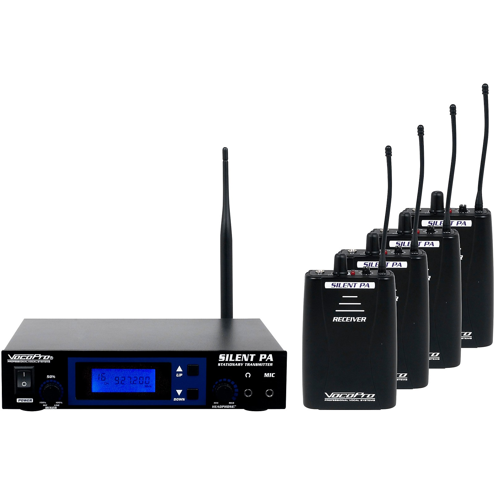Open Box VocoPro SilentPA-PRACTICE 16CH UHF Wireless Audio Broadcast System (Stationary Transmitter with four bodypack receivers)
