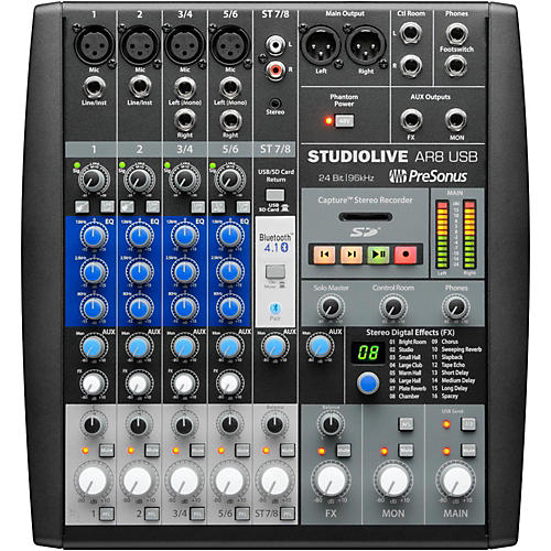 Open Box PreSonus StudioLive AR8 8-Channel Hybrid Digital/Analog Performance Mixer