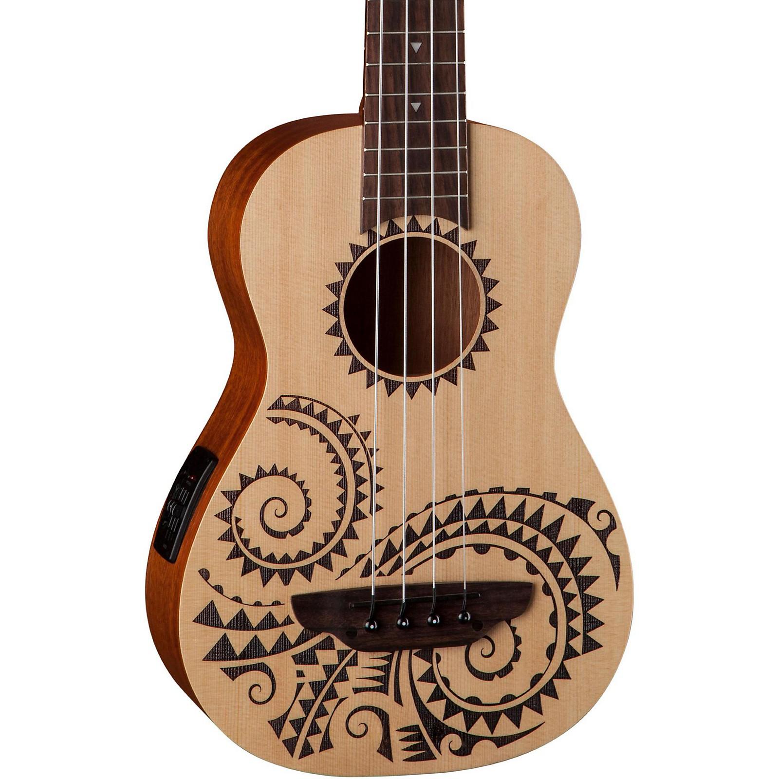 Open Box Luna Guitars Tattoo Ukulele Acoustic-Electric Bass