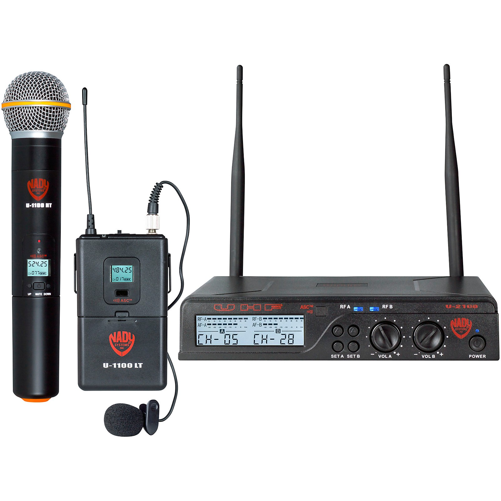 Open Box Nady U-2100 Dual 100-Channel UHF Wireless Handheld and Lapel Microphone System/Band A/B