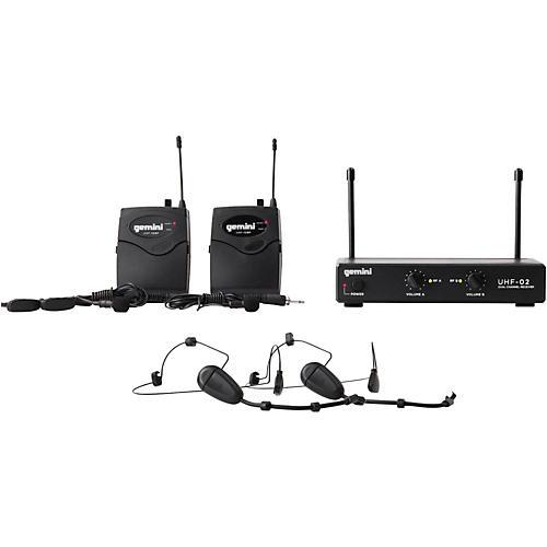 Open Box Gemini UHF-02HL 2-Channel Wireless Headset/Lavalier Combo System