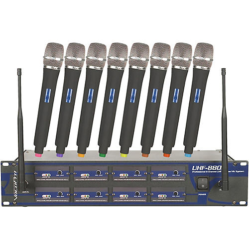 Open Box VocoPro UHF-8800 Plus 8-Channel Wireless System with Carrying Bag