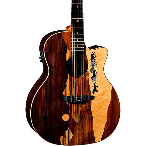 Open Box Luna Guitars Vista Mustang Tropical Wood RSW Back Acoustic-Electric Guitar