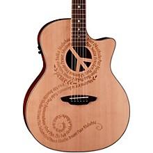 Open BoxLuna Guitars Oracle Grand Concert Series Peace Acoustic-Electric Guitar