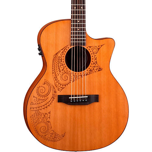 Luna Guitars Oracle Grand Concert Series Tattoo Acoustic-Electric Guitar