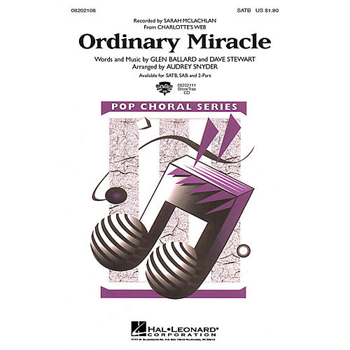 Hal Leonard Ordinary Miracle (from Charlotte's Web) SAB by Sarah McLachlan Arranged by Audrey Snyder