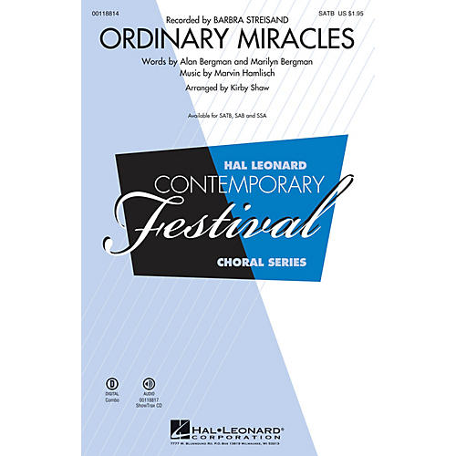 Hal Leonard Ordinary Miracles (SATB) SATB by Barbara Streisand arranged by Kirby Shaw