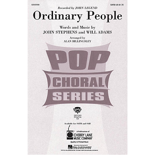 Cherry Lane Ordinary People SAB by John Legend Arranged by Alan Billingsley