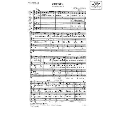 Editio Musica Budapest Oregek (The Aged) SATB Composed by Zoltán Kodály